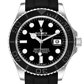 Rolex Yachtmaster White Gold Black Rubber Strap Mens Watch