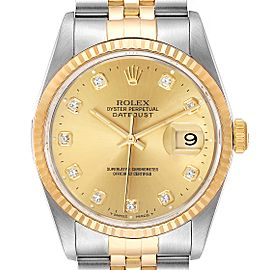 Rolex Datejust Steel Yellow Gold Diamond Mens Watch 16233