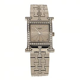Hermes Heure H Quartz Watch Stainless Steel with Diamond Bezel and Bracelet 21