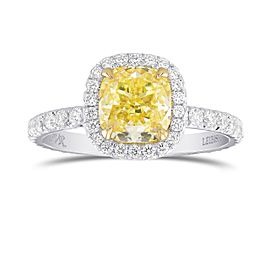 Leibish 18K Yellow and White Gold with 2.91ctw Diamond Halo Ring Size 8.5