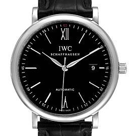 IWC Portofino Black Dial Automatic Steel Mens Watch