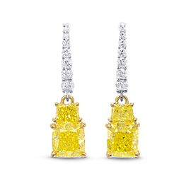 Leibish 18K White and Yellow Gold with 2.83ctw Diamond Drop Earrings