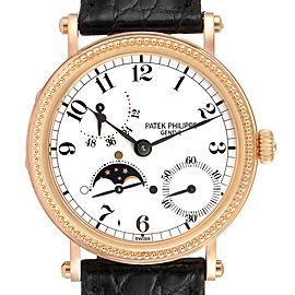 Patek Philippe Calatrava Rose Gold Moon Phase Power Reserve Watch 5015