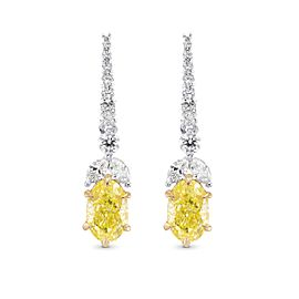 Leibish 18K Yellow Gold with 2.72ctw Diamond Drop Earrings