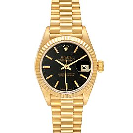 Rolex President Datejust 26 Yellow Gold Black Dial Ladies Watch 69178