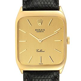 Rolex Cellini 18k Yellow Gold Black Strap Mens Vintage Watch 4135