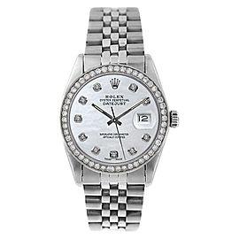 Rolex Datejust 16014 Stainless Steel MOP Diamond Dial Mens Watch