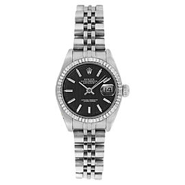 Rolex Datejust 6916 Stainless Steel Black Tapistry Stick Dial 18K Gold Fluted Bezel Womens Watch