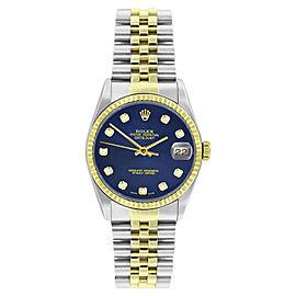 Rolex Datejust 16233 Stainless Steel & Gold Blue Diamond Dial 18K Gold Bezel Mens Watch