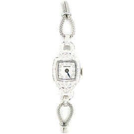 Croton Vintage Platinum & SS Mother Of Pearl With 2CT Diamond Dial Women's Watch