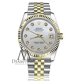 Men's Vintage Rolex 36mm Datejust Two Tone White MOP Mother Of Pearl Dial with Diamond Accent