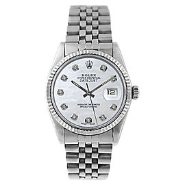 Rolex Datejust 16234 Stainless Steel MOP Diamond Dial Mens Watch