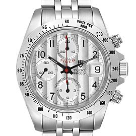 Tudor Tiger Woods Chronograph Silver Dial Steel Mens Watch