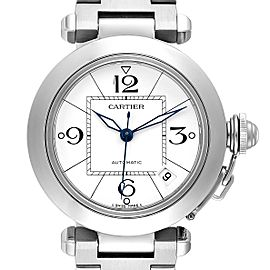 Cartier Pasha C 35mm White Dial Steel Unisex Watch W31074M7 Box Papers