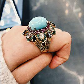 18K Yellow Gold Turquoise, Diamond Ring Size 10
