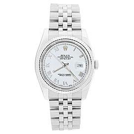 Rolex Datejust 116234 Stainless Steel 18K Gold Bezel White Roman Dial Watch