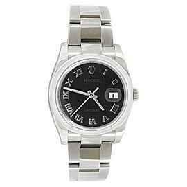 Rolex Oyster Datejust 116200 Black Anniversary Roman Dial Stainless Steel Bezel Watch
