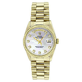 Rolex President 18238 18K Gold MOP Diamond Dial Mens Watch