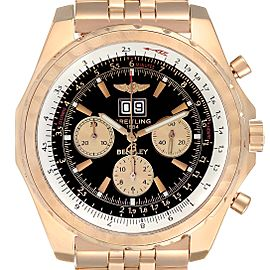 Breitling Bentley 6.75 Rose Gold Black Dial Chronograph LE Watch