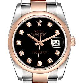 Rolex Datejust 36 Steel EveRose Gold Black Diamond Dial Watch 116201