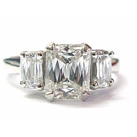 Platinum Emerald, Diamond Womens Engagement Ring Size 7