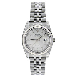 Rolex Datejust 116234 White Gold With White Stick Dial Bezel 36mm Mens Watch