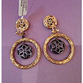 18K Yellow Gold 2.80ctw Diamond Circle Drop Earrings