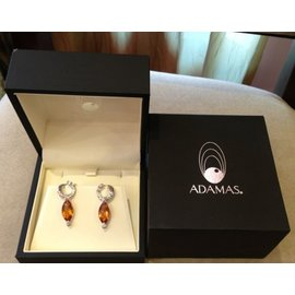 Adamas 18K White Gold Citrine 1.03ctw Diamond Earrings