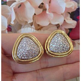 18K Yellow Gold 5.00ctw Diamond Dome Button Earrings