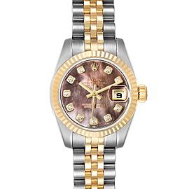 Rolex Datejust Steel Yellow Gold MOP Diamond Ladies Watch