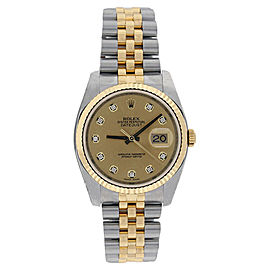 Rolex Datejust 116233GYDJ Stainless Steel & 18K Gold Champagne Diamond Mens Watch