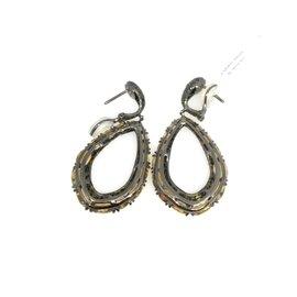 18K White Gold Citrine 2.69ctw Diamond Drop Hoop Earrings