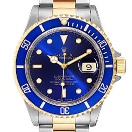 Rolex Submariner Purple Blue Dial Steel Yellow Gold Mens Watch