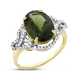 10k Yellow Gold 7.50ct. Diamond & Oval Green Topaz Cocktail Ring Size 11