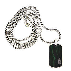 David Yurman Stainless Steel Green Malachite Dog Tag Pendant Necklace