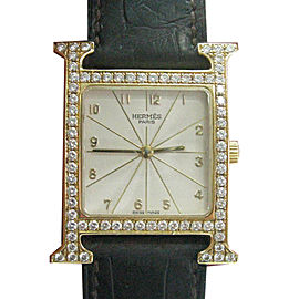 Hermes Diamond Bezel 18K Yellow Gold Quartz 38mm Watch