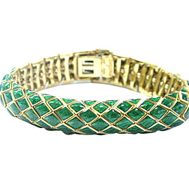 David Webb 18K Yellow Gold Green Enamel Bracelet