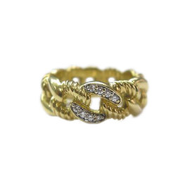 David Yurman 18K Yellow Gold Cable Diamond Ring