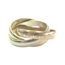 Cartier Trinity Ring 18K White Yellow & Rose Gold Size 5.25