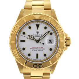 Rolex 16628 Yachtmaster 40mm 18K Yellow Gold White Dial W Series Watch
