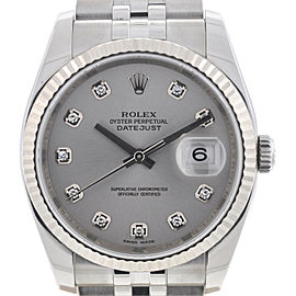 Rolex 116234 Datejust 36mm Stainless Steel Diamond Dial Fluted Bezel Watch