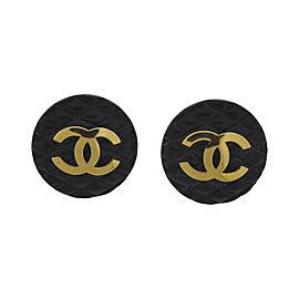 Chanel Black Ear Clip Earrings