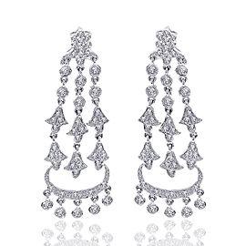 14K White Gold Diamond Chandelier Drop Earring