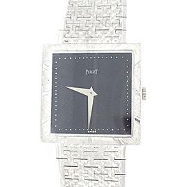 Piaget 18K White Gold & Black Dial Vintage 25.4mm Mens Watch