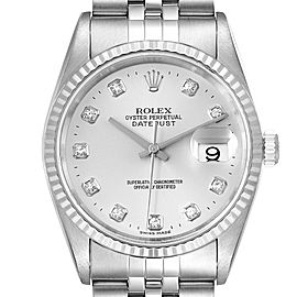 Rolex Datejust Steel White Gold Silver Diamond Dial Mens Watch