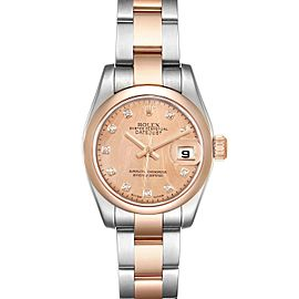 Rolex Datejust Steel Rose Gold Diamond Ladies Watch