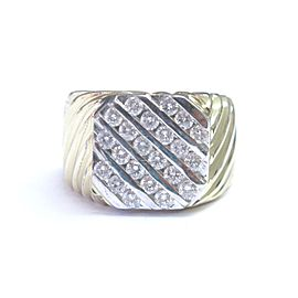 14K Yellow Gold Fine 5-Row Round Cut Diamond Jewelry Ring