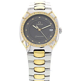 Omega Seamaster Polaris Stainless Steel 18K Yellow Gold & Diamond Mens Watch