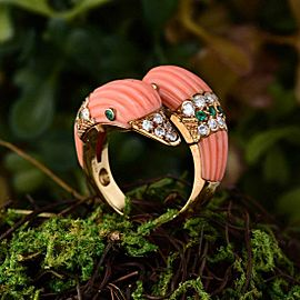 Van Cleef & Arpels 18K Yellow Gold Coral, Diamond Ring
