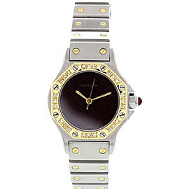 Cartier Santos 18K Yellow Gold & SS Automatic Diamonds Womens Watch